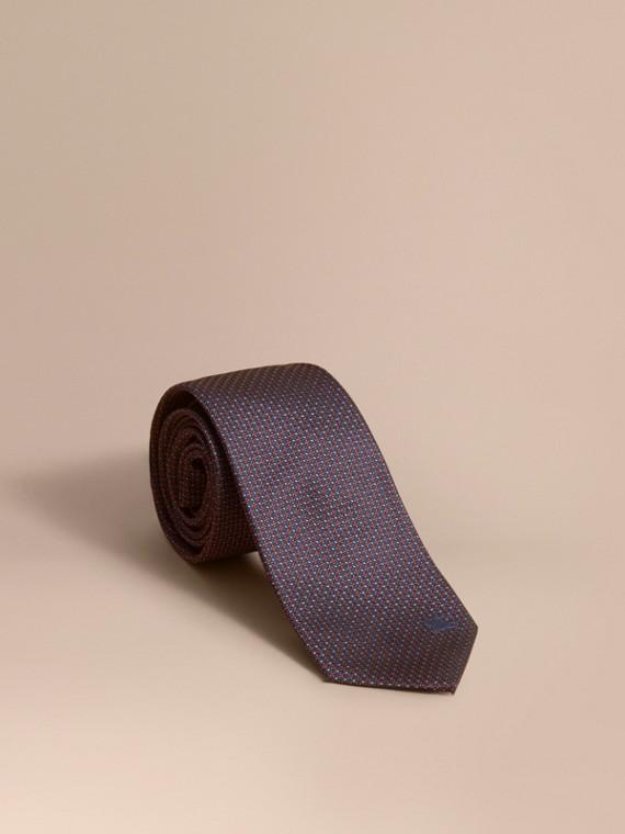 Gravata de seda estampada com corte moderno (Azul Marinho)