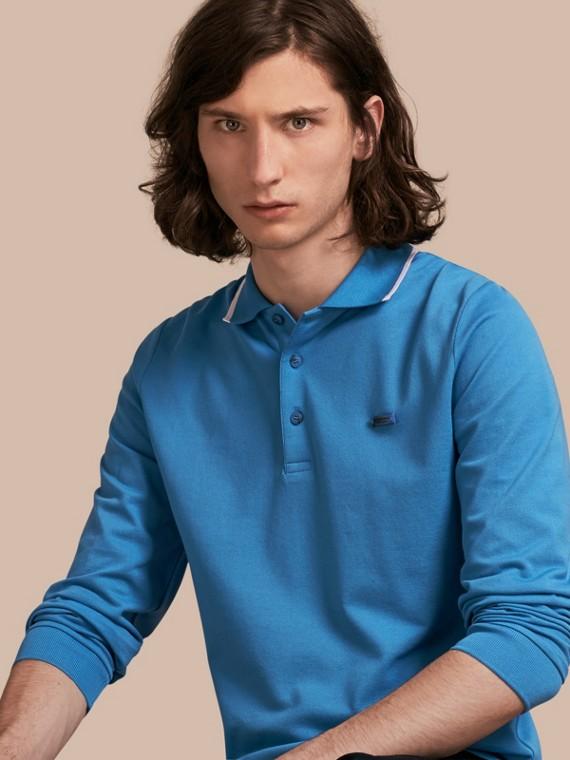 Long-sleeved Tipped Cotton Piqué Polo Shirt Chalk Blue