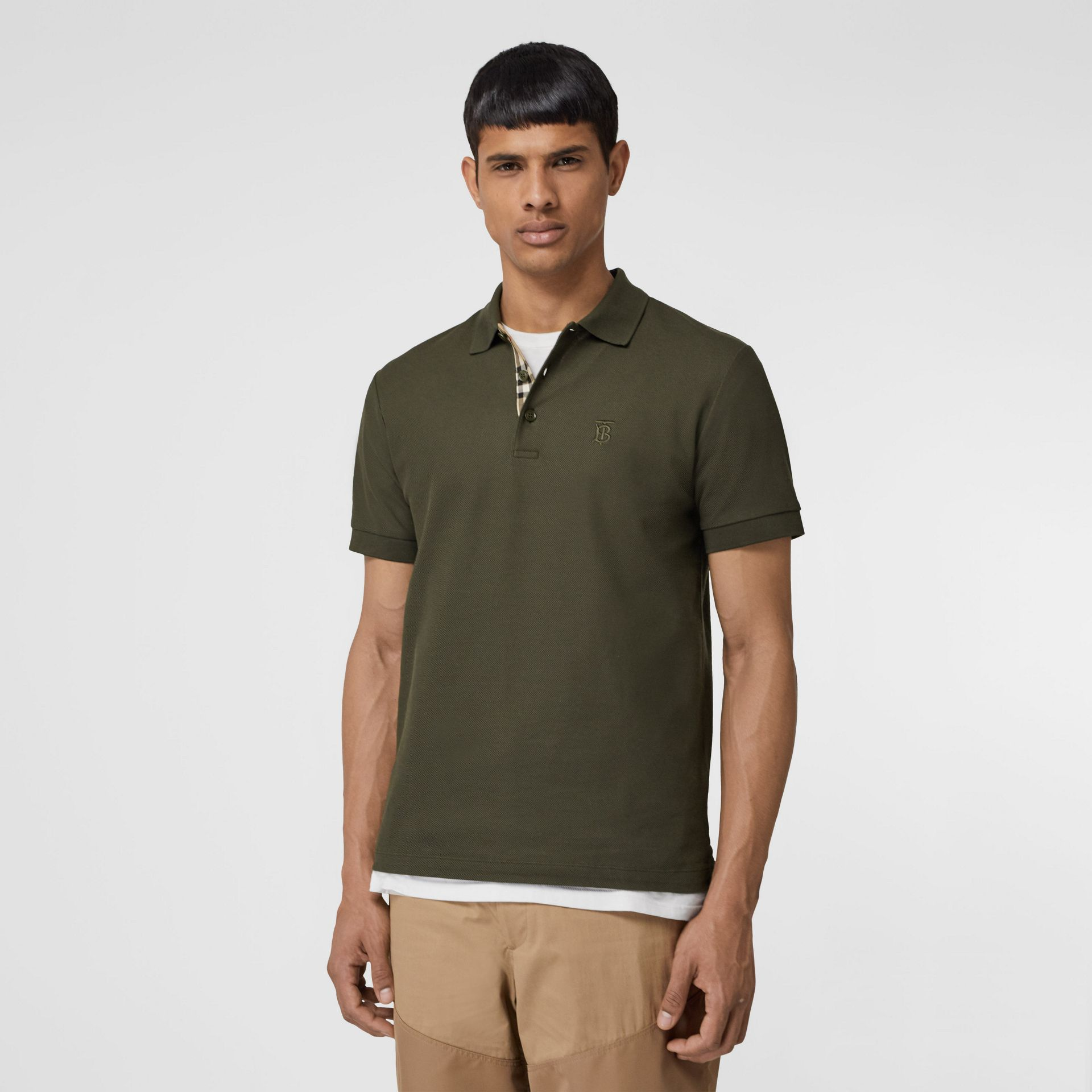 Monogram Motif Cotton Piqué Polo Shirt in Seaweed - Men | Burberry - gallery image 0