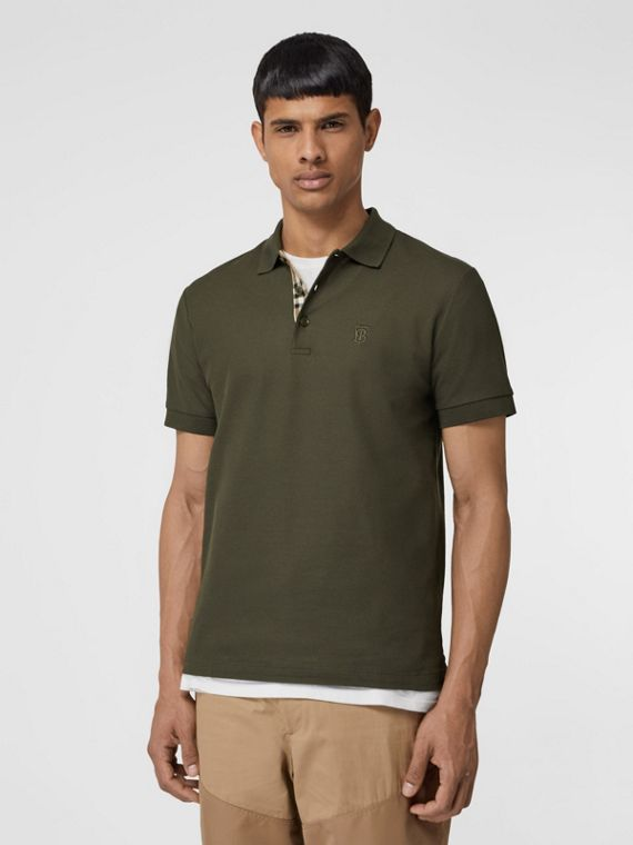 Monogram Motif Cotton Piqué Polo Shirt in Seaweed
