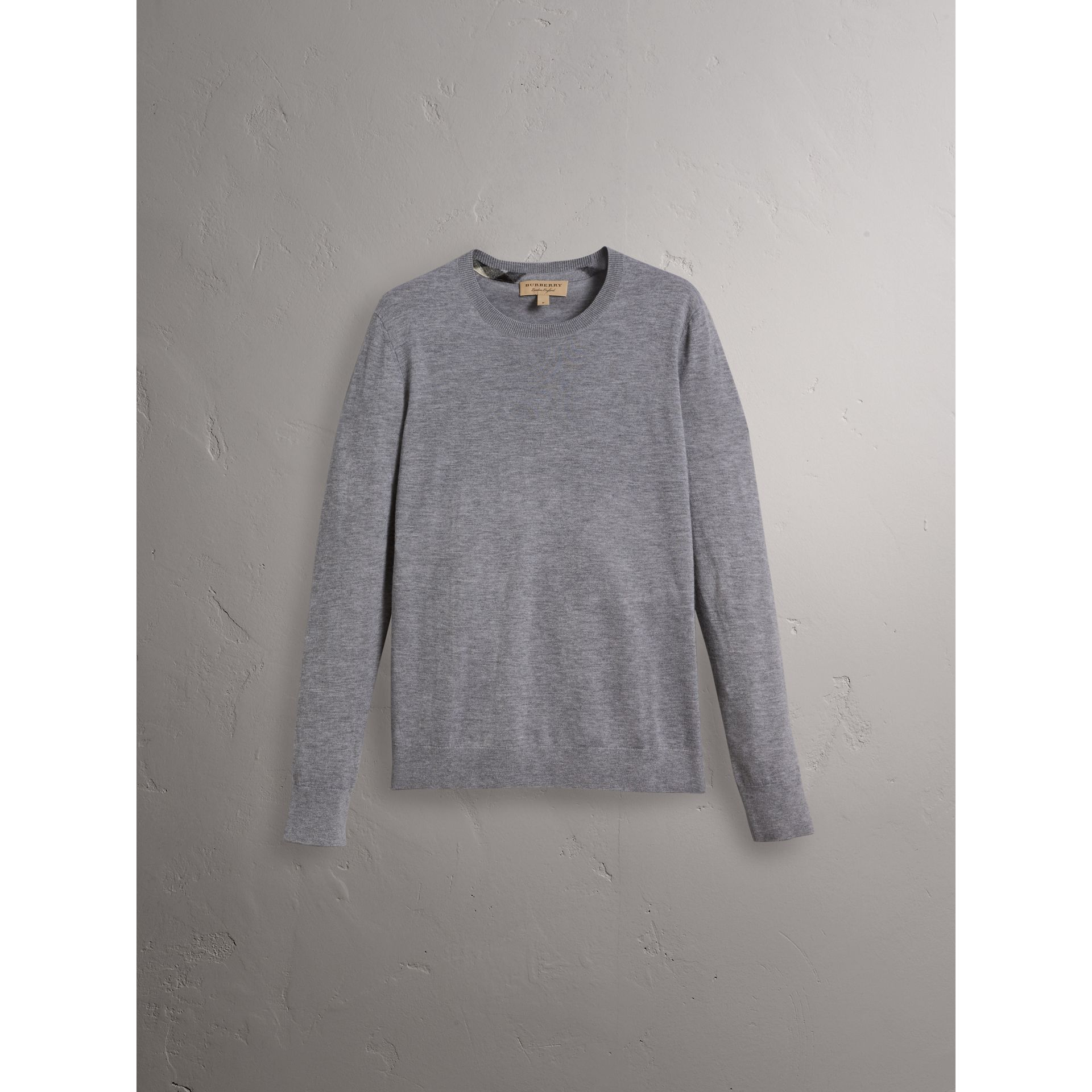 Lightweight Crew Neck Cashmere Sweater with Check Trim in Pale Grey Melange - Men | Burberry - gallery image 1