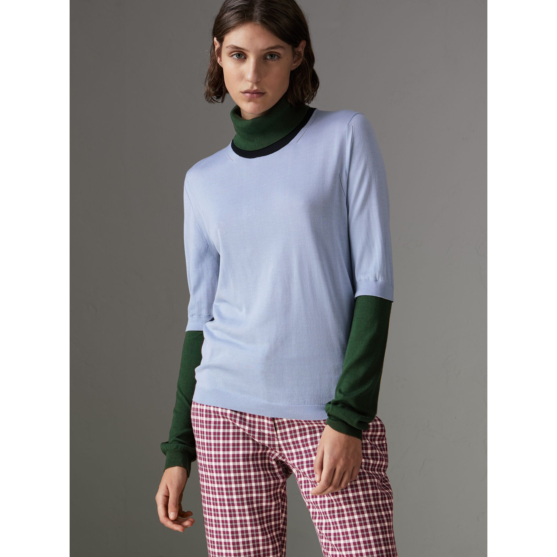 Colour Block Silk Cashmere Roll-neck Sweater in Sky Blue - Women | Burberry Canada - gallery image 4