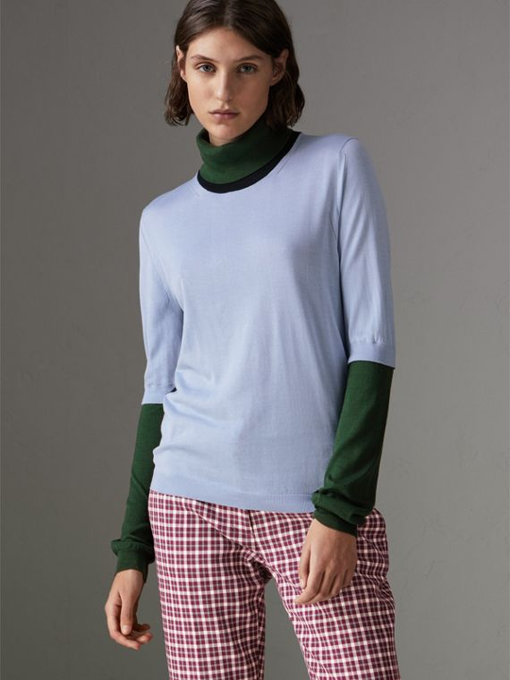 Colour Block Silk Cashmere Roll-neck Sweater in Sky Blue
