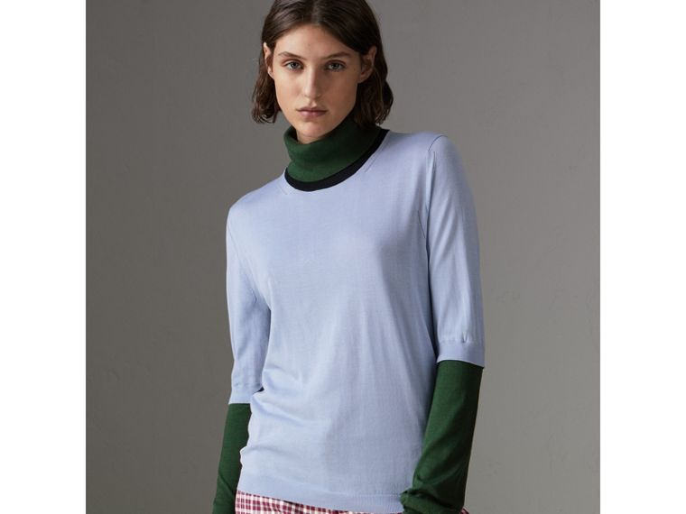 Colour Block Silk Cashmere Roll-neck Sweater in Sky Blue - Women | Burberry - cell image 4