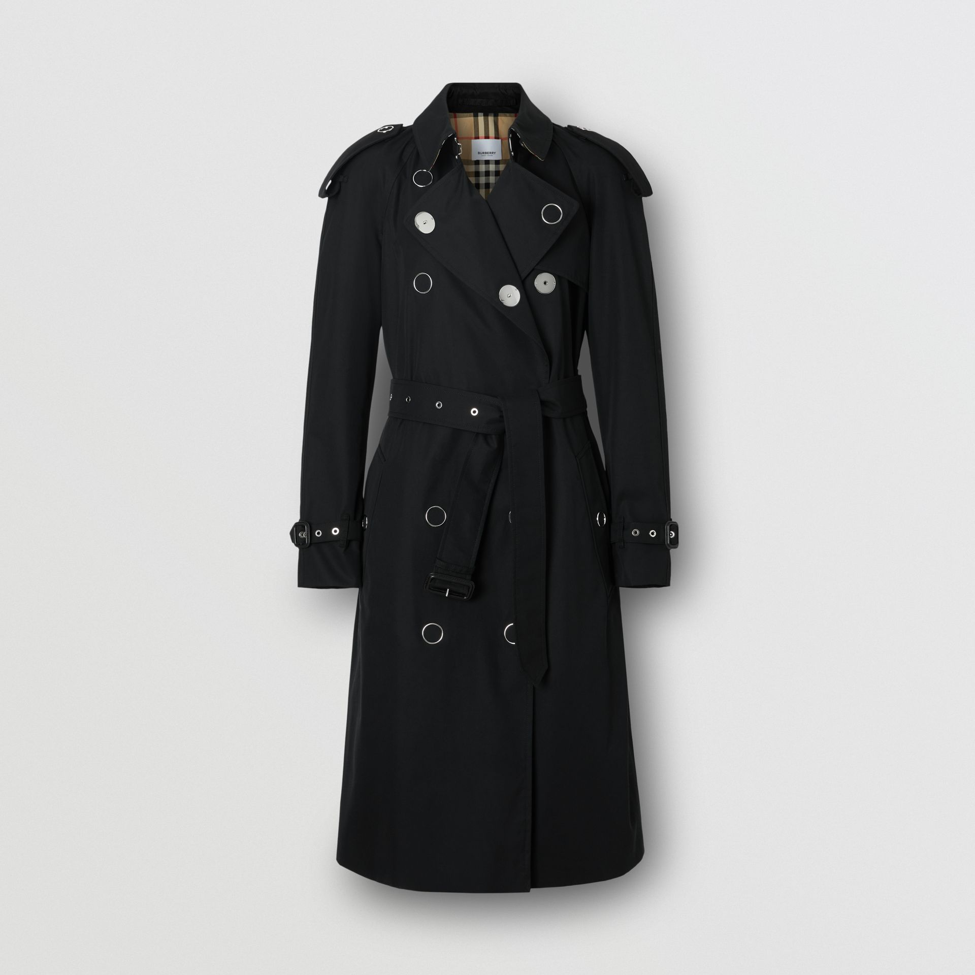 Press-stud Detail Cotton Gabardine Trench Coat in Black - Women | Burberry - gallery image 3