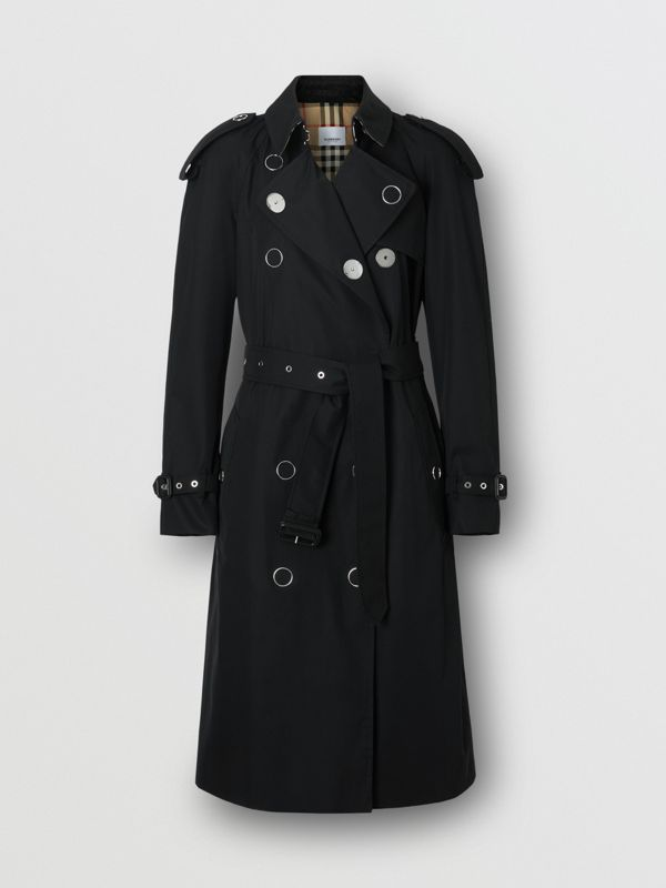 Press-stud Detail Cotton Gabardine Trench Coat in Black - Women | Burberry - cell image 3