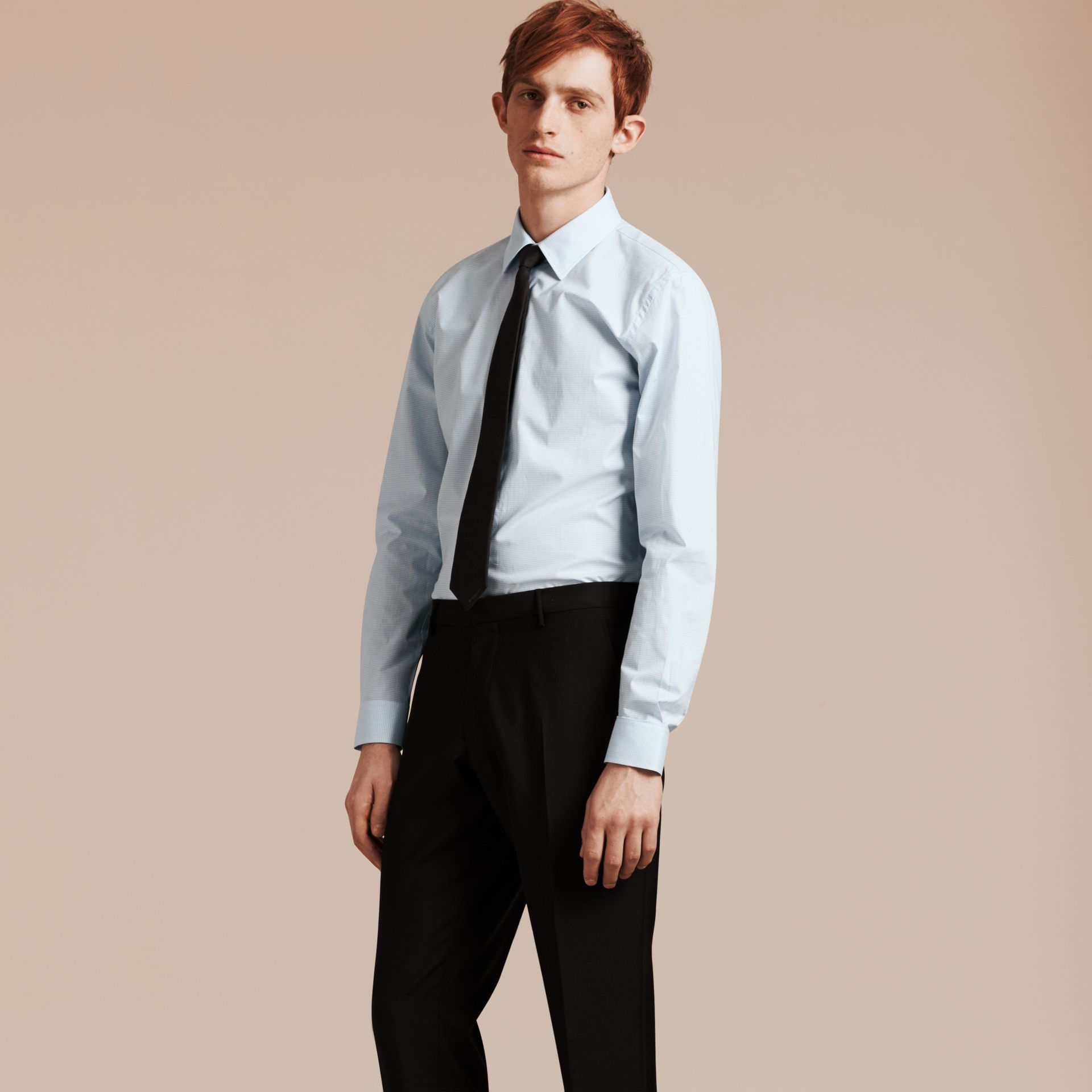 Slim Fit Gingham Cotton Poplin Shirt in City Blue - Men | Burberry - gallery image 1