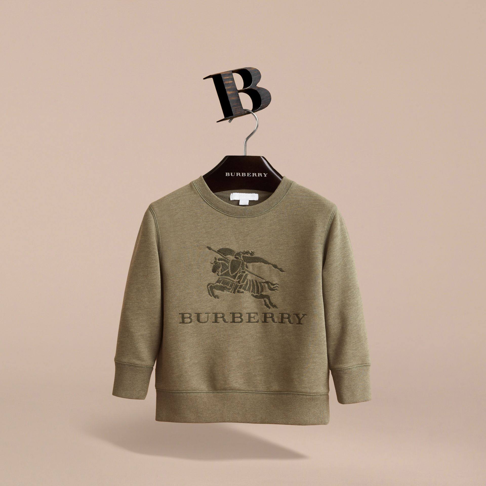 Embroidered Cotton Jersey Sweatshirt in Khaki Green Melange | Burberry Canada - gallery image 3
