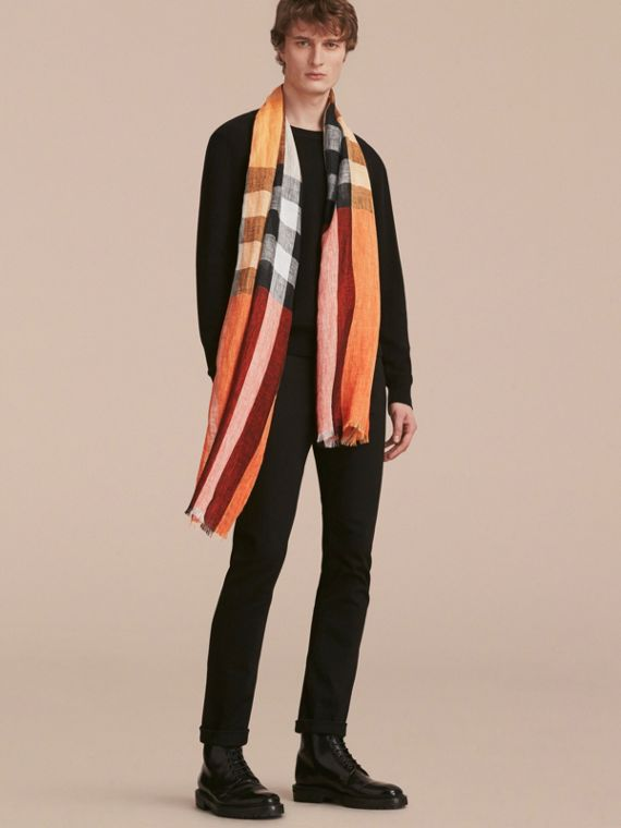 Lightweight Check Linen Scarf Clementine - cell image 2