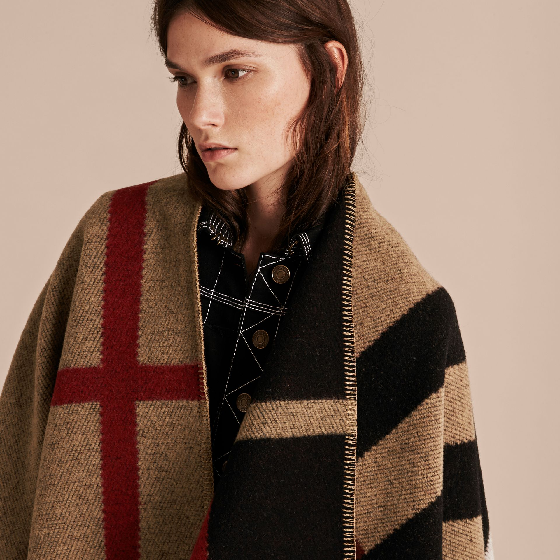 House check/black Check Wool and Cashmere Blanket Poncho - gallery image 6