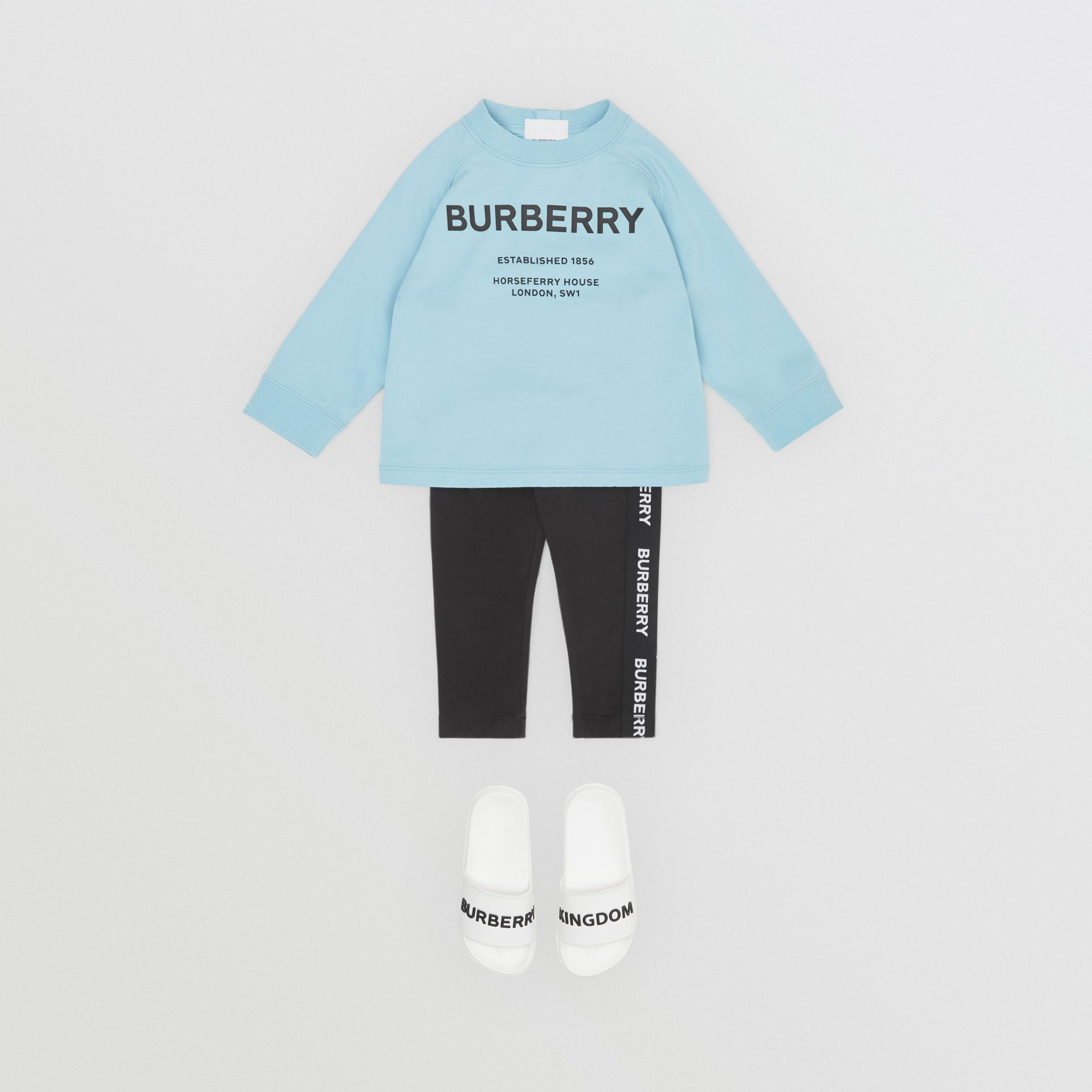 Long-sleeve Horseferry Print Cotton Top in Powder Blue - Children | Burberry - gallery image 2
