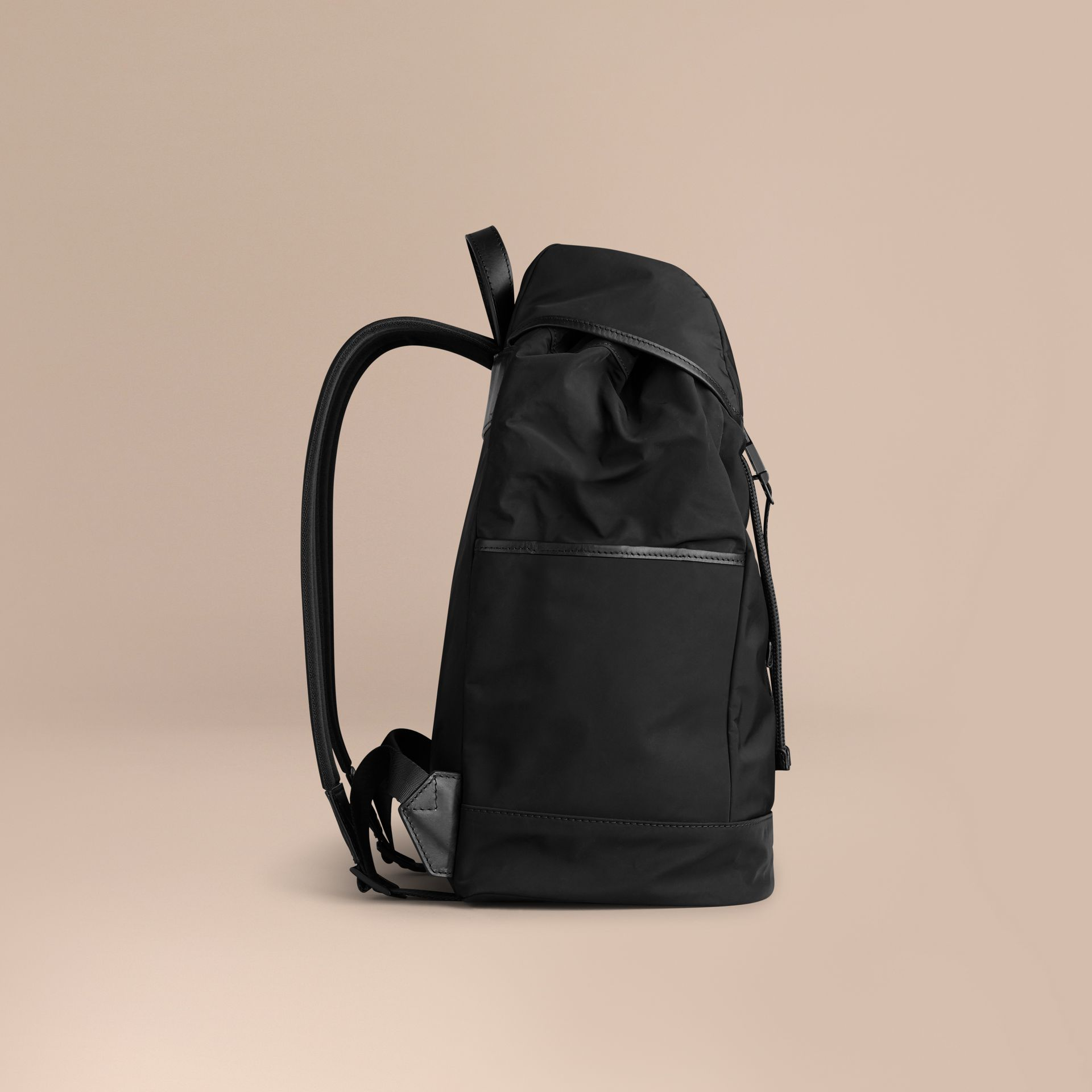 Black Leather Trim Lightweight Backpack Black - gallery image 7