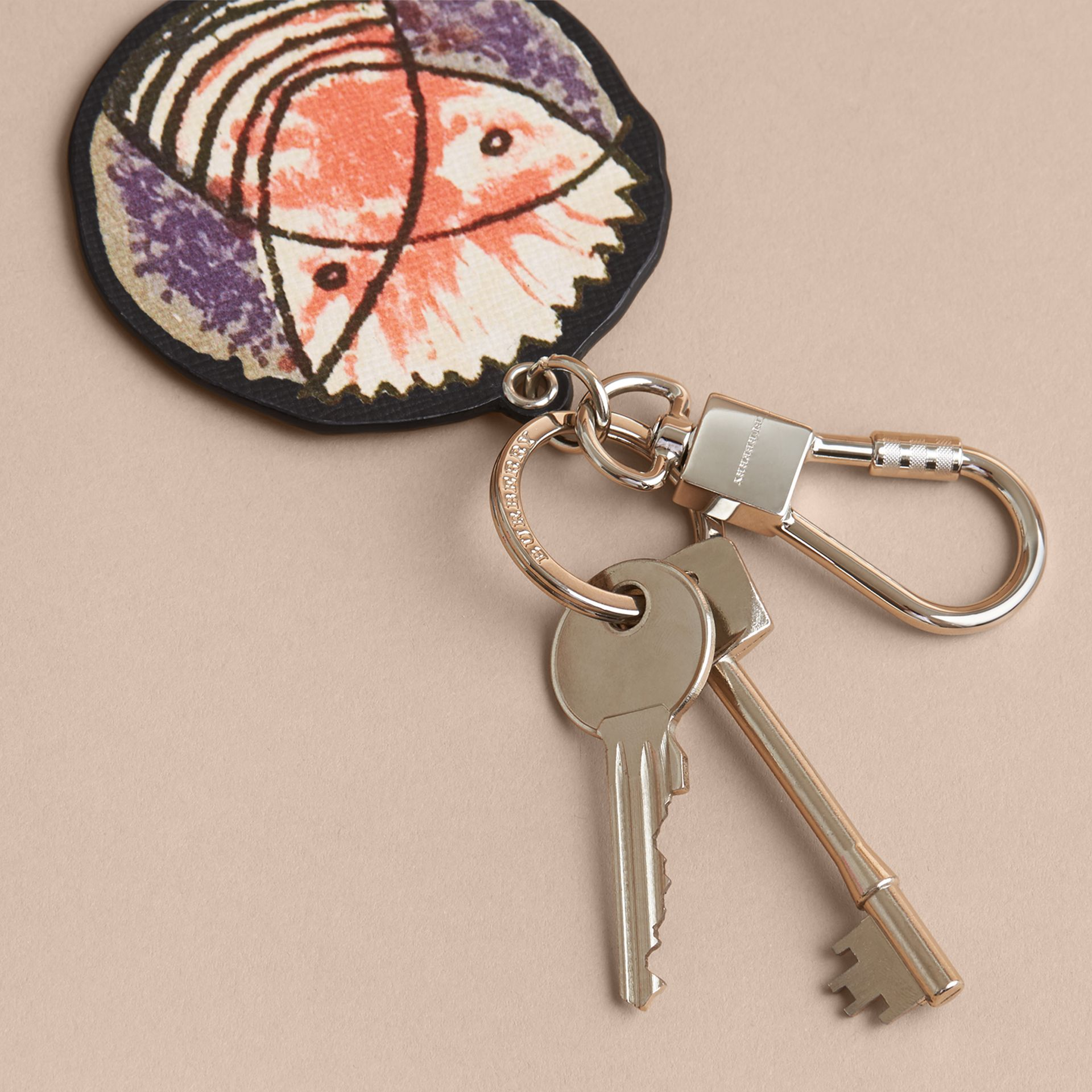 Pallas Heads Print Leather Key Ring - gallery image 3