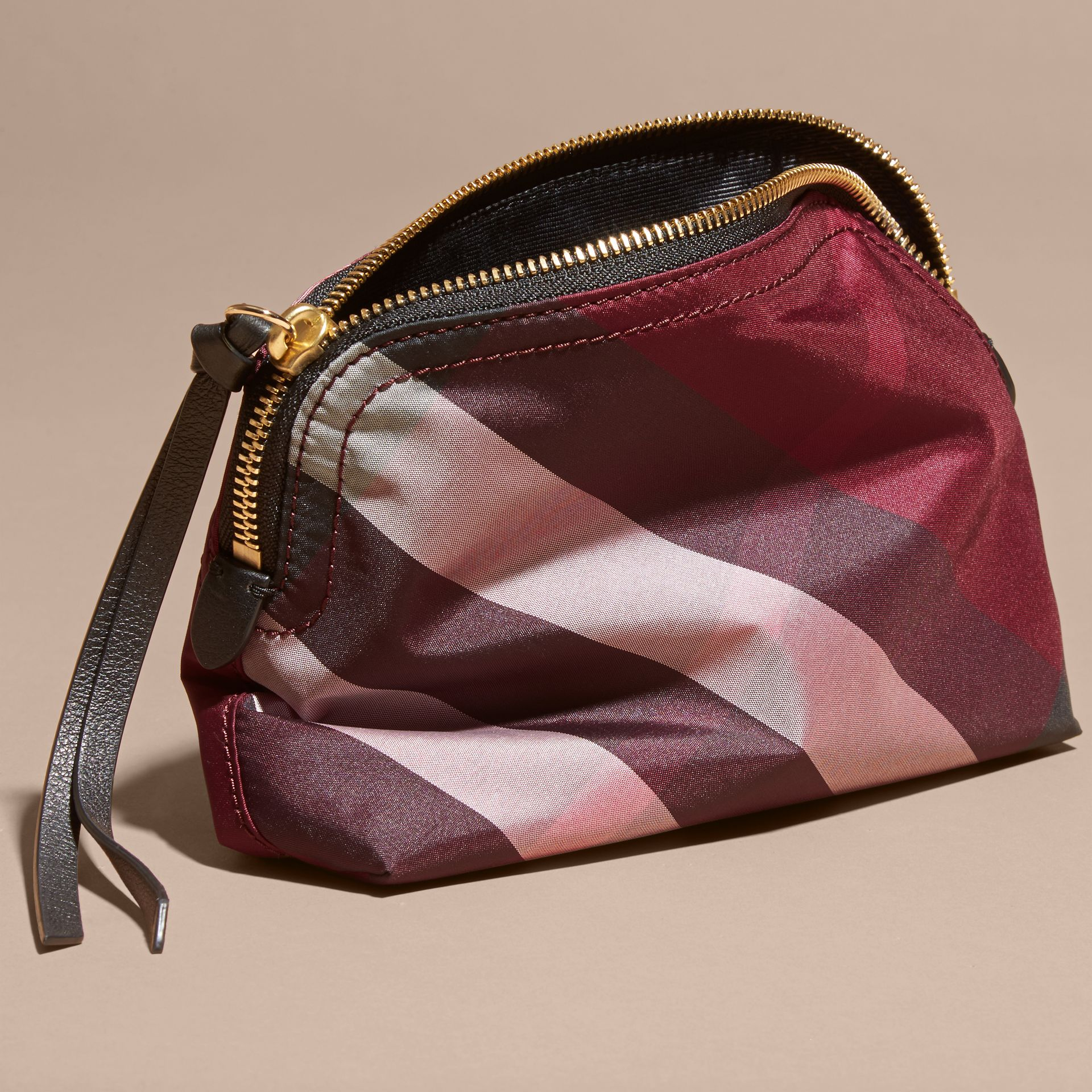 Medium Zip-top Check Technical Pouch in Plum - Women | Burberry - gallery image 4