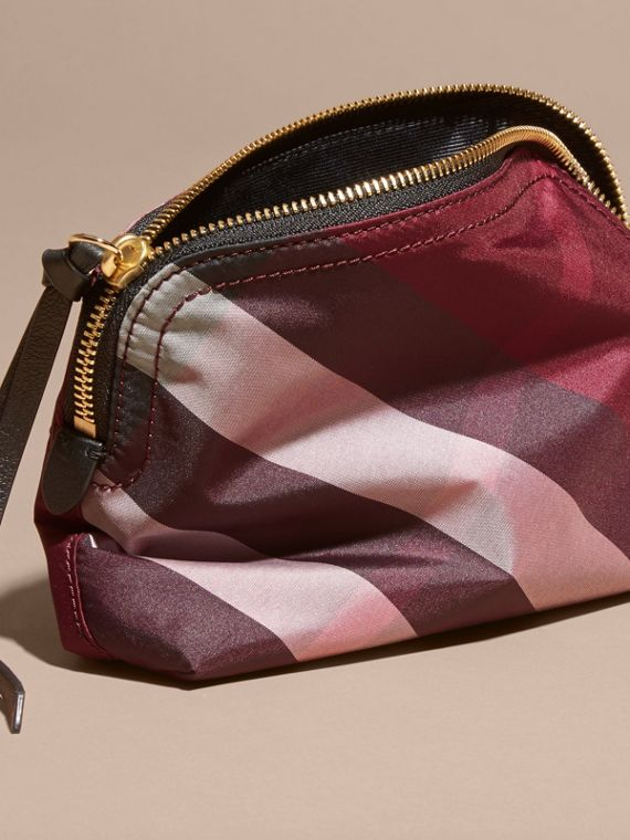 Medium Zip-top Check Technical Pouch in Plum - Women | Burberry - cell image 3