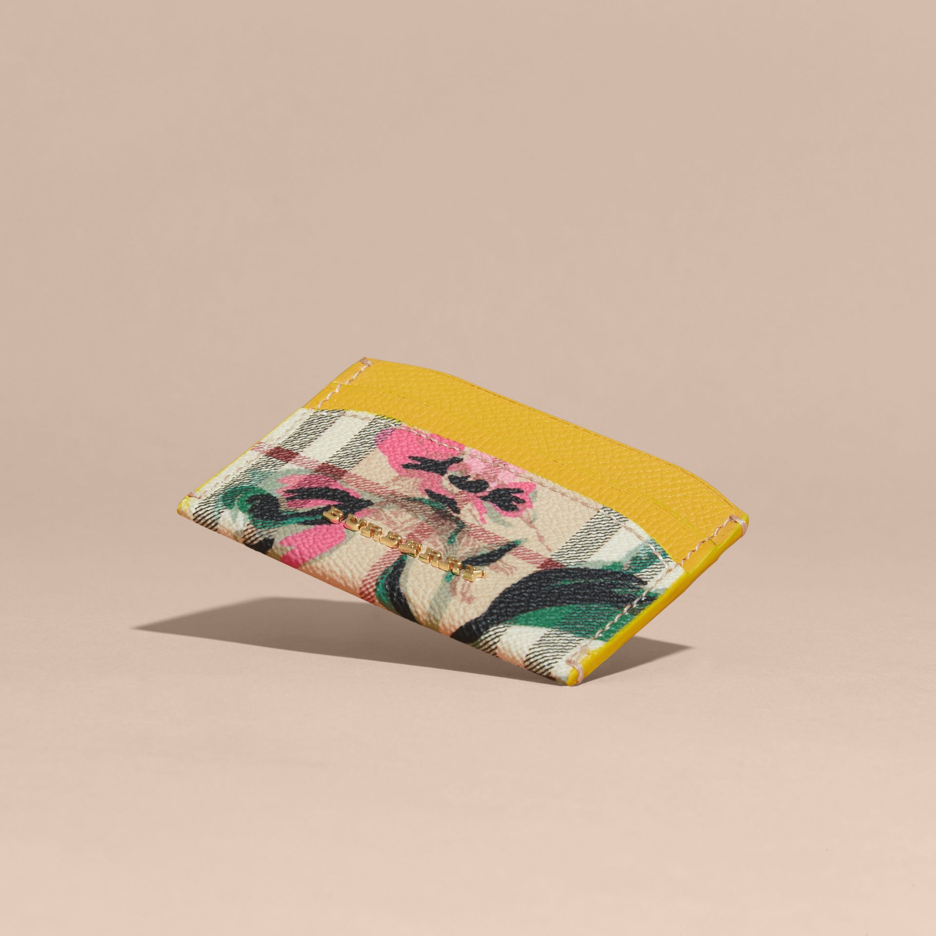 Peony Rose Print Haymarket Check and Leather Card Case in Larch Yellow/emerald Green - gallery image 3
