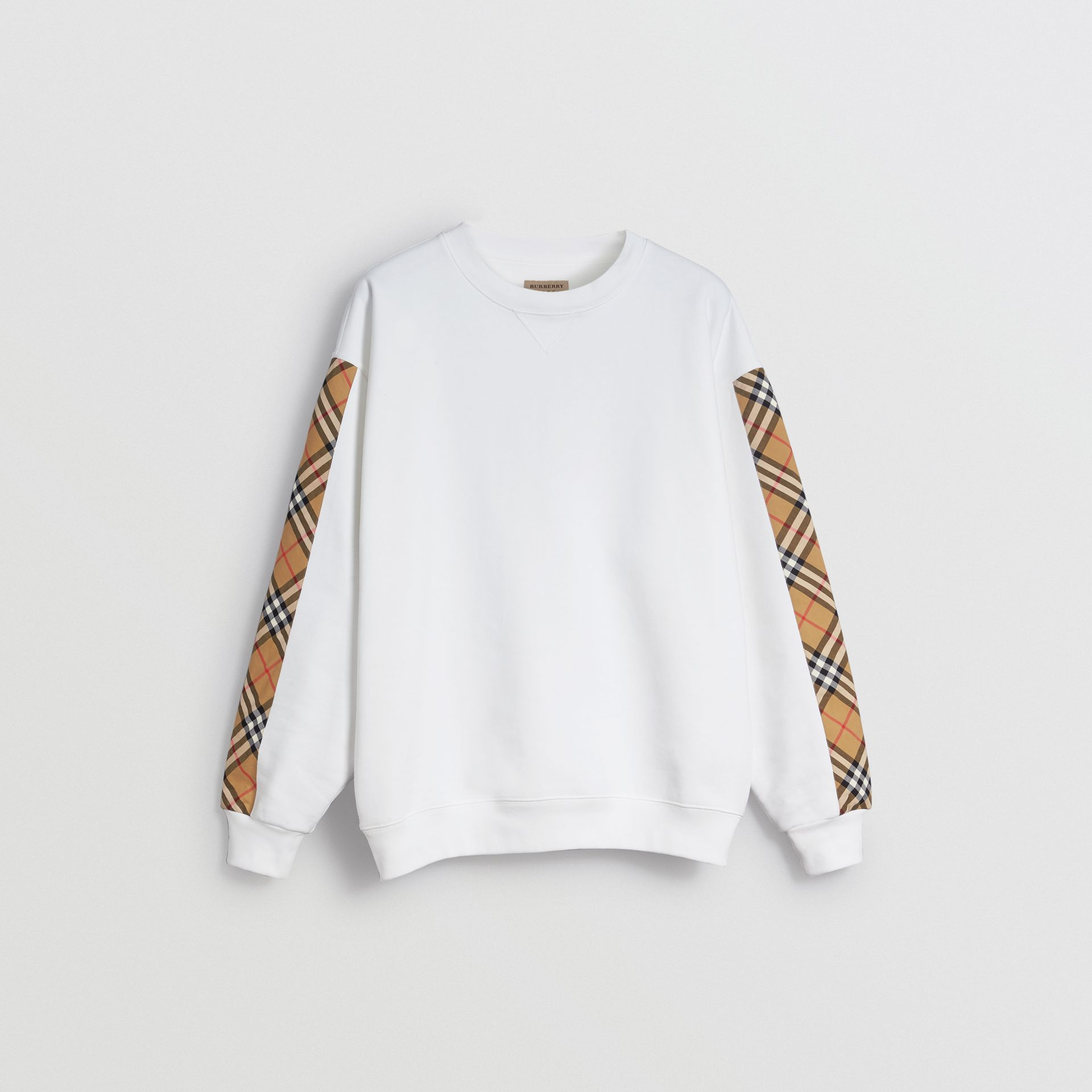 Vintage Check Detail Cotton Blend Sweatshirt in White - Women | Burberry Hong Kong - gallery image 3