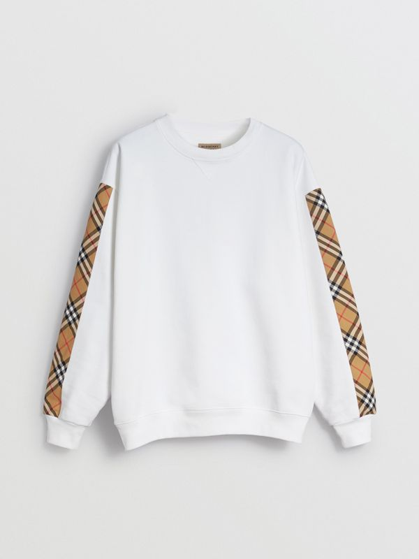 Vintage Check Detail Cotton Blend Sweatshirt in White - Women | Burberry Hong Kong - cell image 3