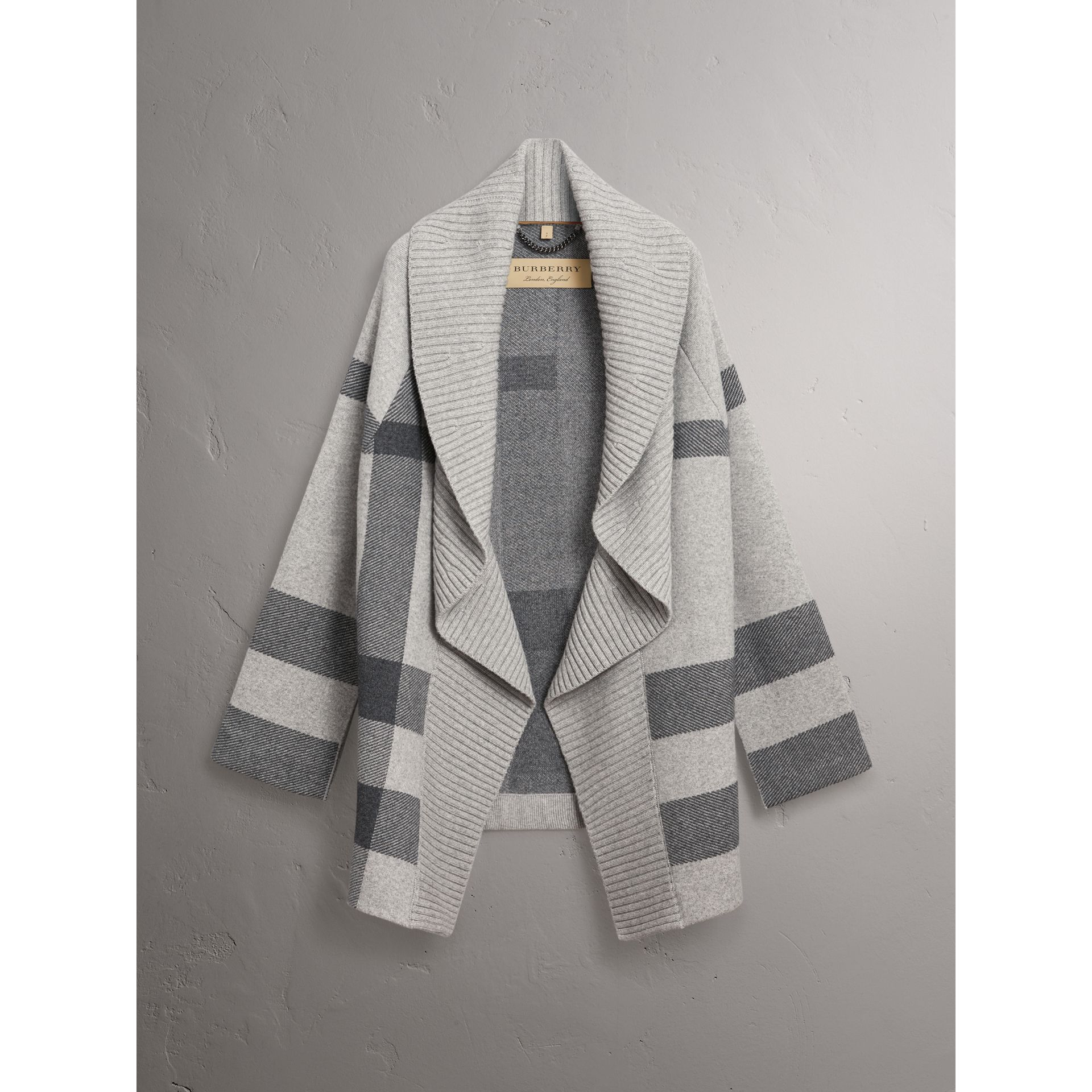 Check Wool Cashmere Blend Cardigan Coat in Pale Grey Melange - Women | Burberry - gallery image 3