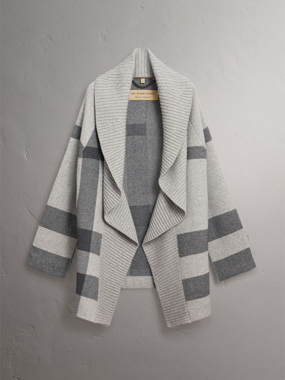 Check Wool Cashmere Blend Cardigan Coat in Pale Grey Melange - Women | Burberry United Kingdom - cell image 3