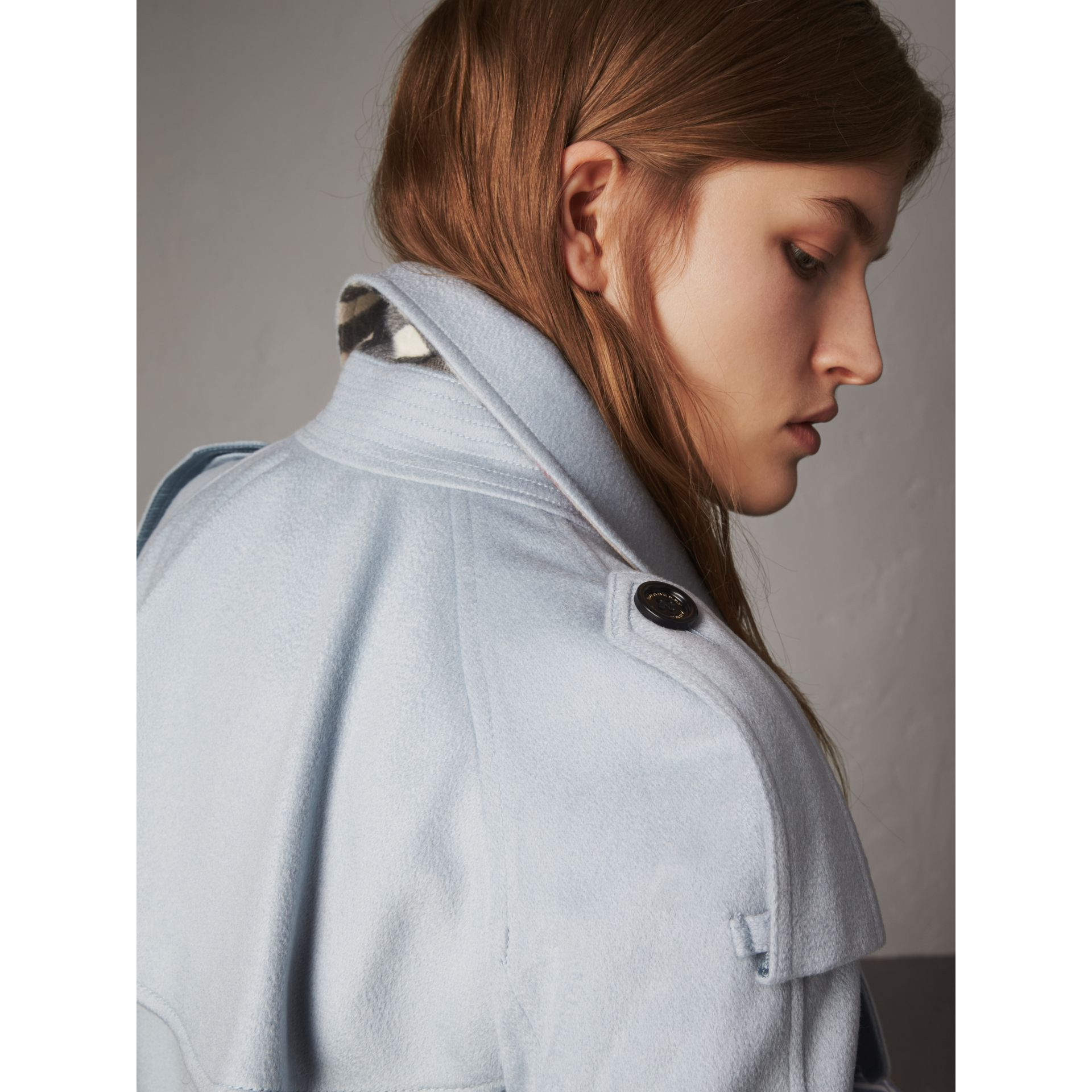 Ruffled Storm Shield Cashmere Trench Coat in Mineral Blue - Women | Burberry - gallery image 2