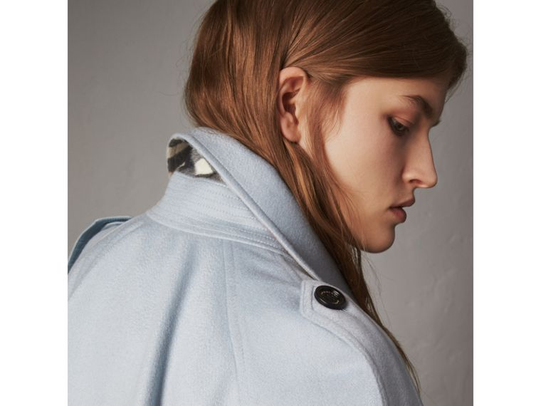 Ruffled Storm Shield Cashmere Trench Coat in Mineral Blue - Women | Burberry Australia - cell image 1