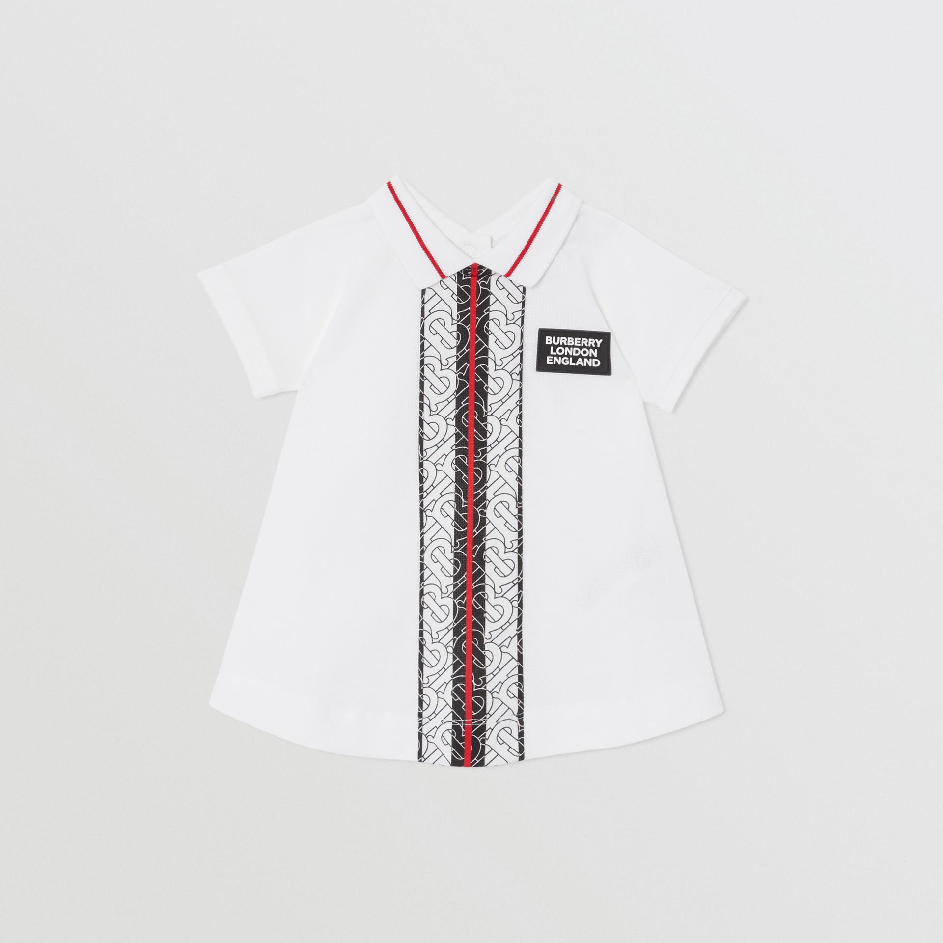 Kleid aus Baumwollpiqué mit Monogrammmuster im Streifendesign und Höschen (Weiß) - Kinder | Burberry - Galerie-Bild 0