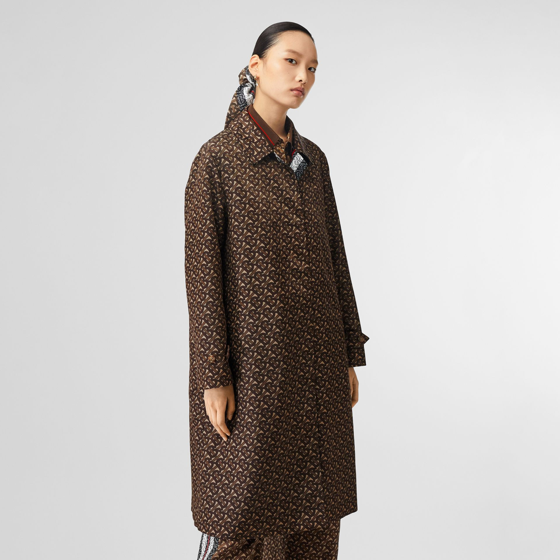 Monogram Stripe Print Nylon Car Coat in Bridle Brown - Women | Burberry Canada - gallery image 5