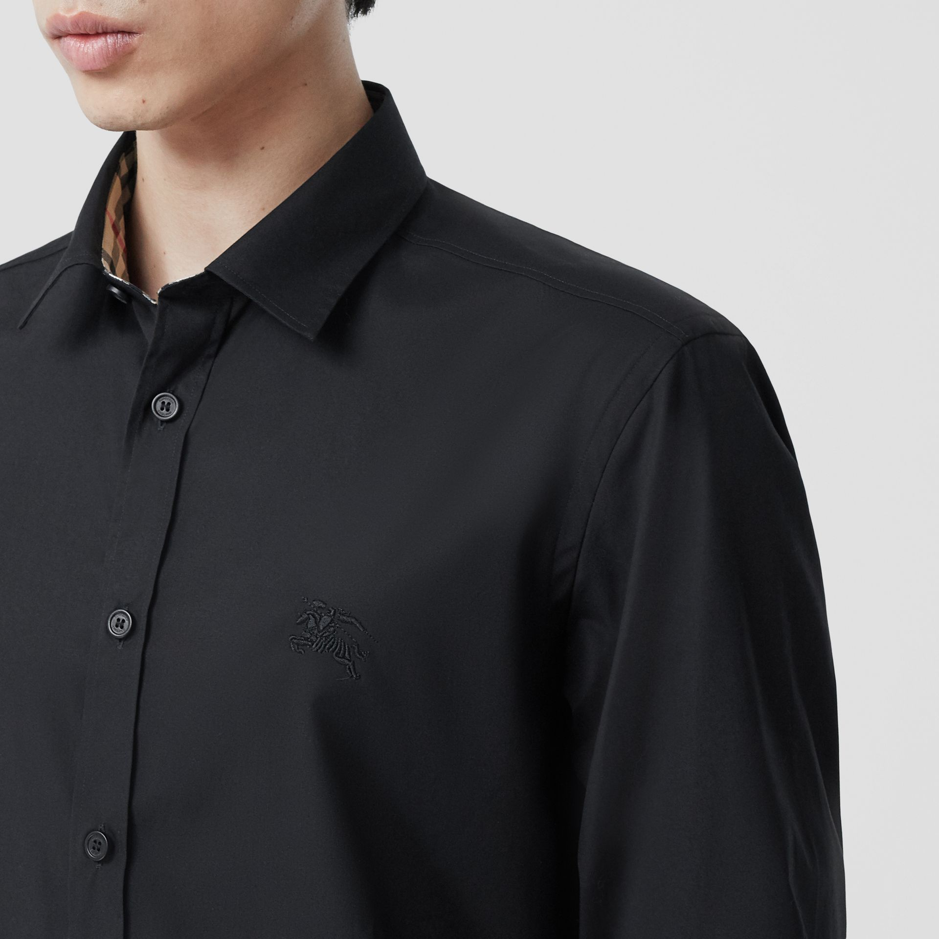 Slim Fit Embroidered EKD Stretch Cotton Shirt in Black - Men | Burberry - gallery image 1