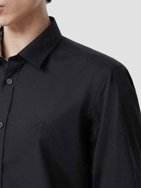 Slim Fit Embroidered EKD Stretch Cotton Shirt in Black - Men | Burberry - cell image 1