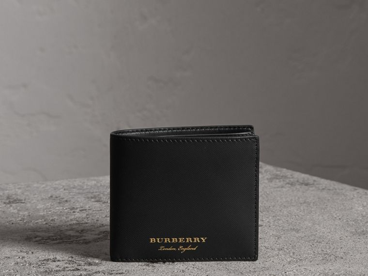 Trench Leather Bifold Wallet with Removable Card Case in Black - Men | Burberry - cell image 4