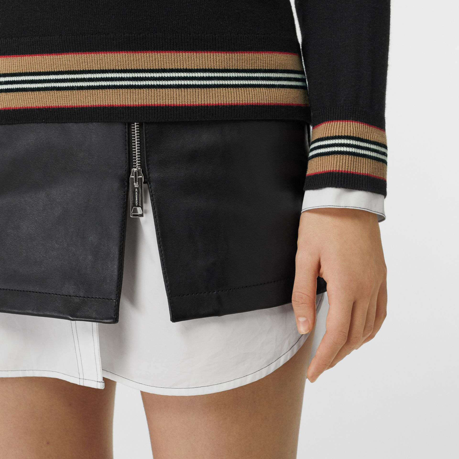 Icon Stripe Detail Merino Wool Sweater in Black - Women | Burberry Australia - gallery image 1
