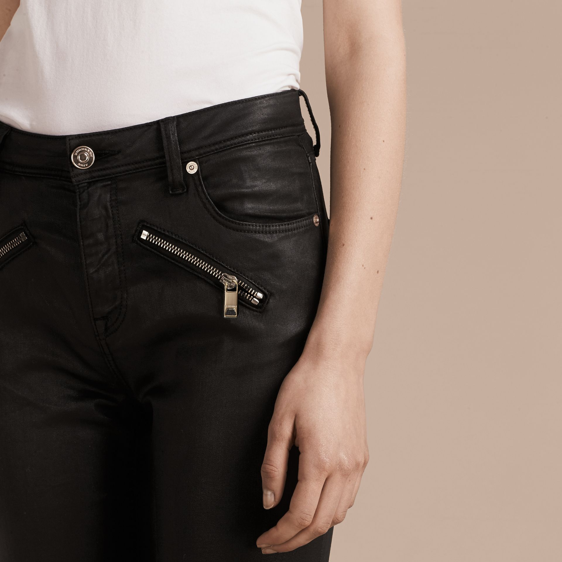 Black Skinny Fit High-rise Coated Stretch Denim Jeans - gallery image 5