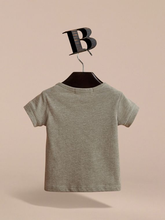 Check Pocket Cotton Jersey T-shirt in Khaki Green | Burberry - cell image 3