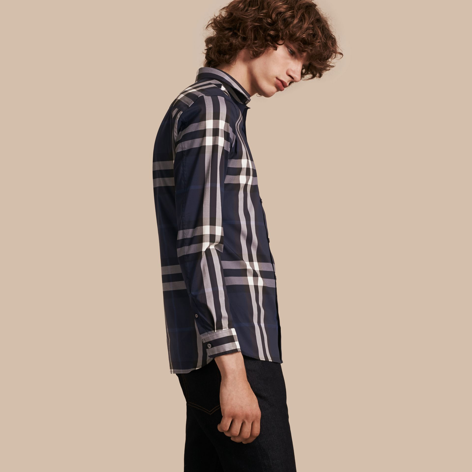 Indigo blue Check Stretch Cotton Shirt Indigo Blue - gallery image 1