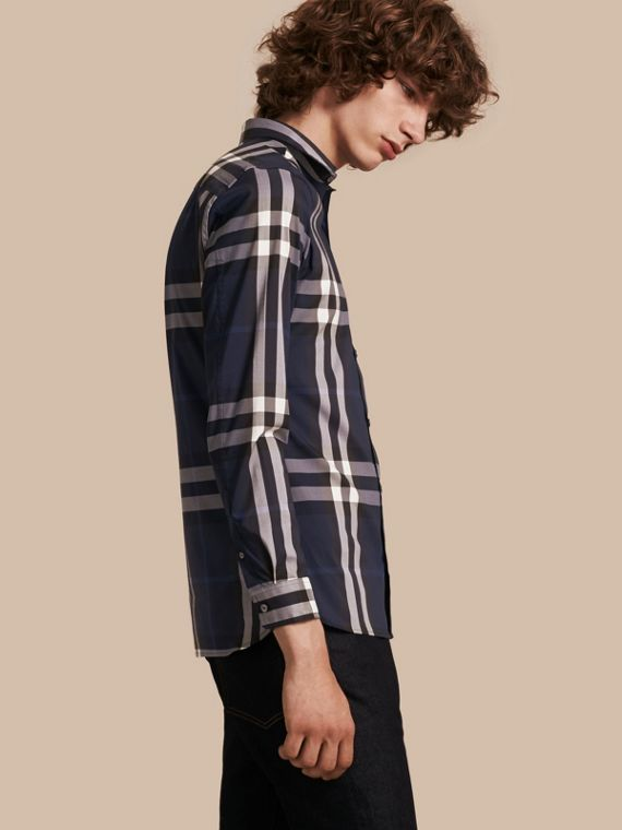 Check Stretch Cotton Shirt Indigo Blue