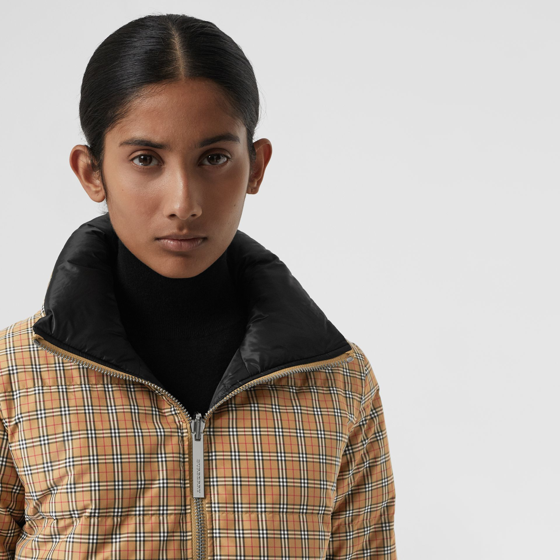 Vintage Check Reversible Puffer Jacket in Antique Yellow - Women | Burberry Hong Kong - gallery image 1