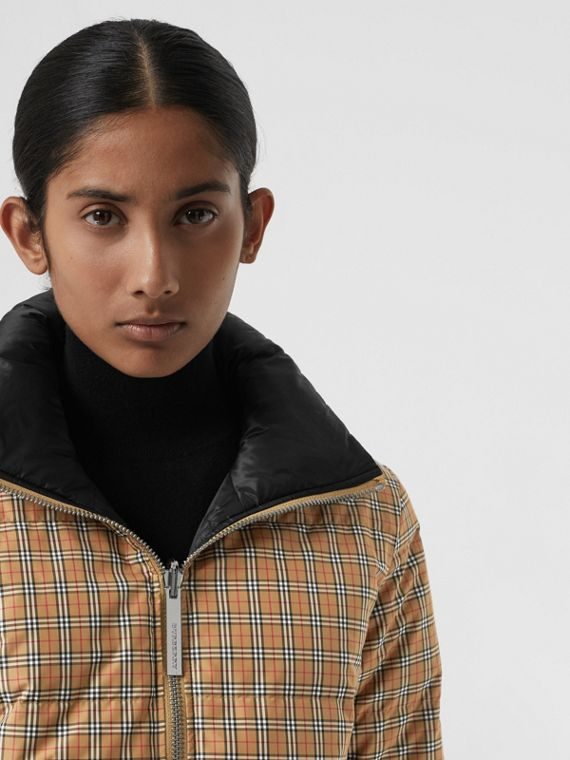 Reversible Vintage Check Puffer Jacket in Antique Yellow