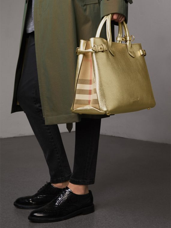 The Medium Banner in Leather and House Check in Gold - Women | Burberry - cell image 3