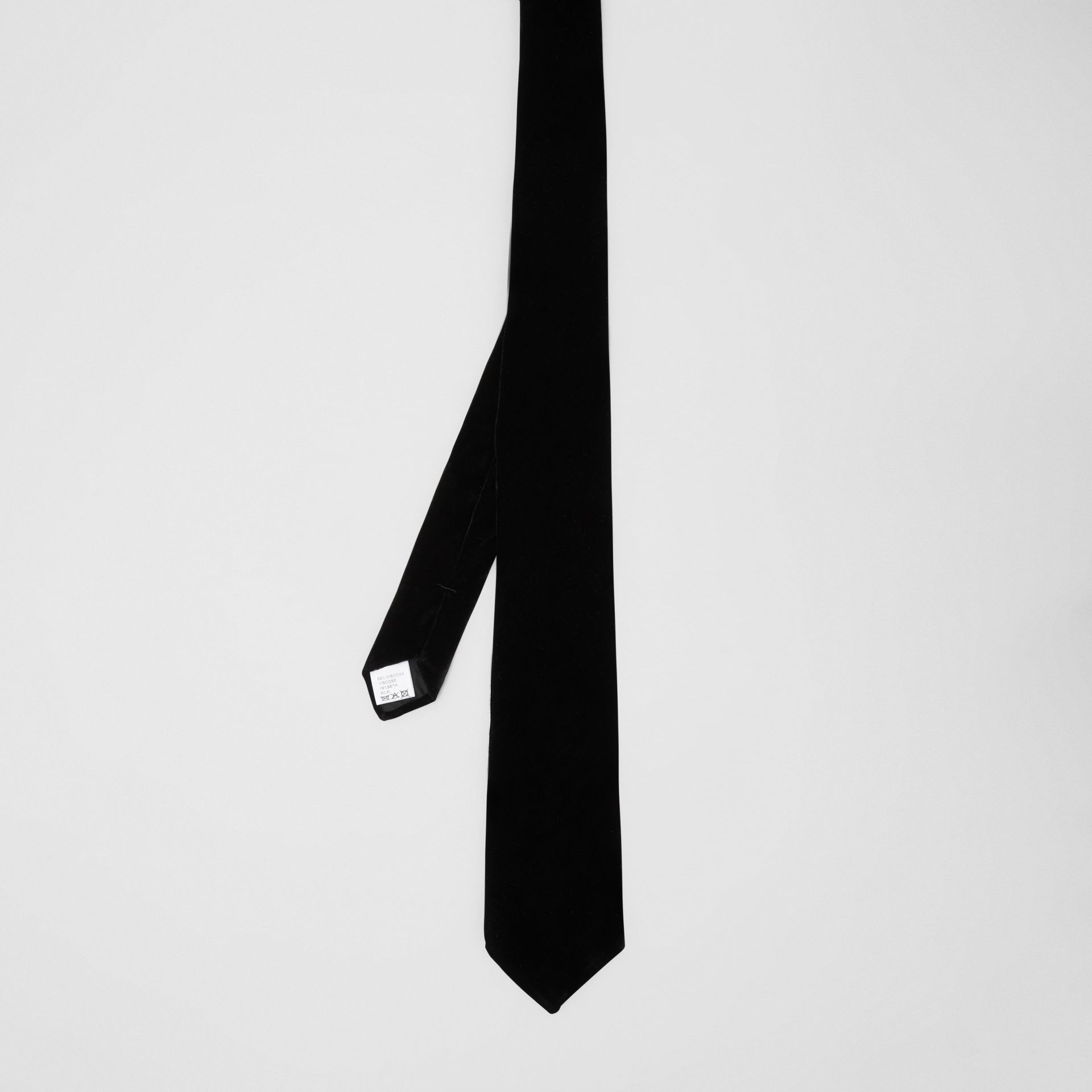 Classic Cut Velvet Tie in Black - Men | Burberry - gallery image 4