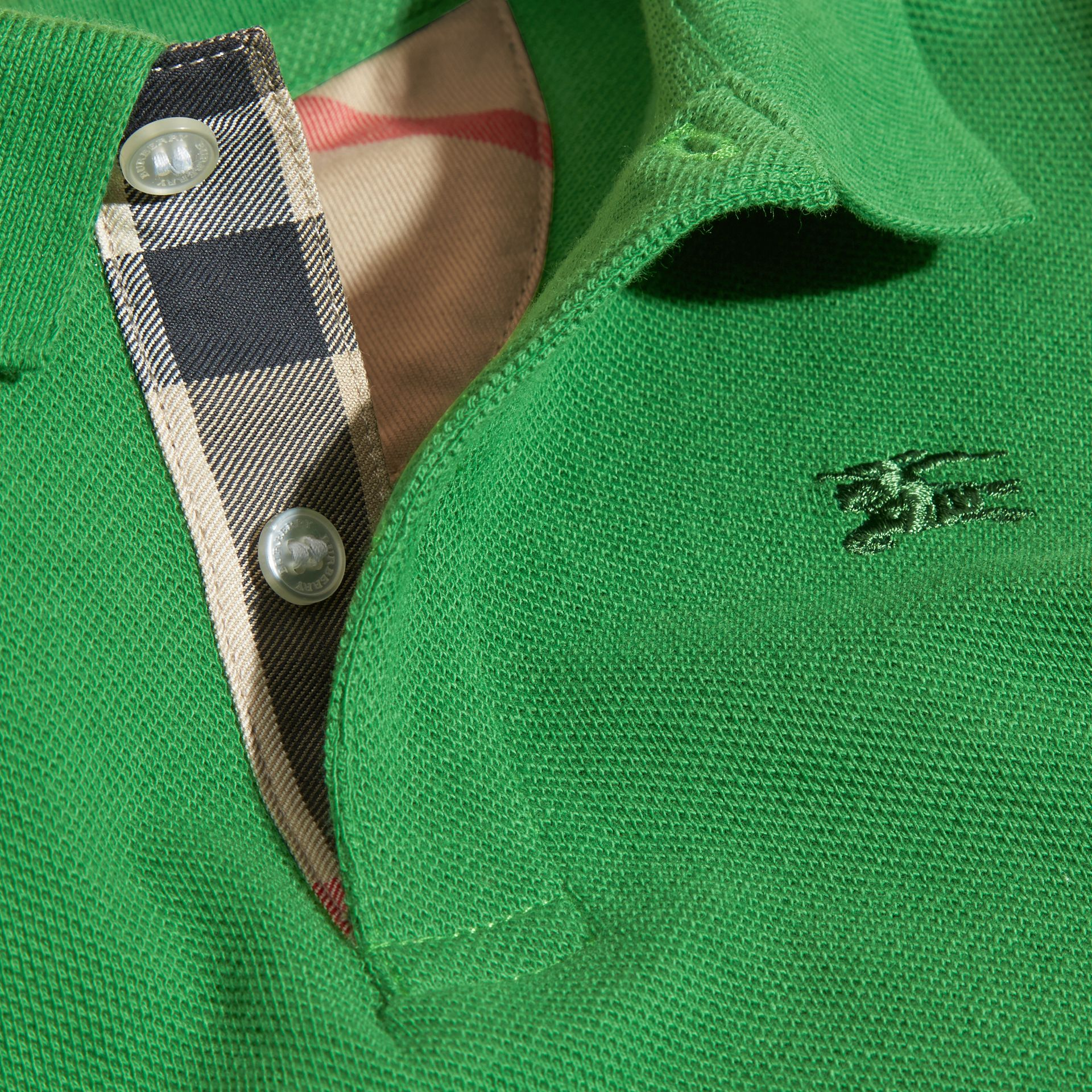Bright fern green Check Placket Polo Shirt Bright Fern Green - gallery image 2