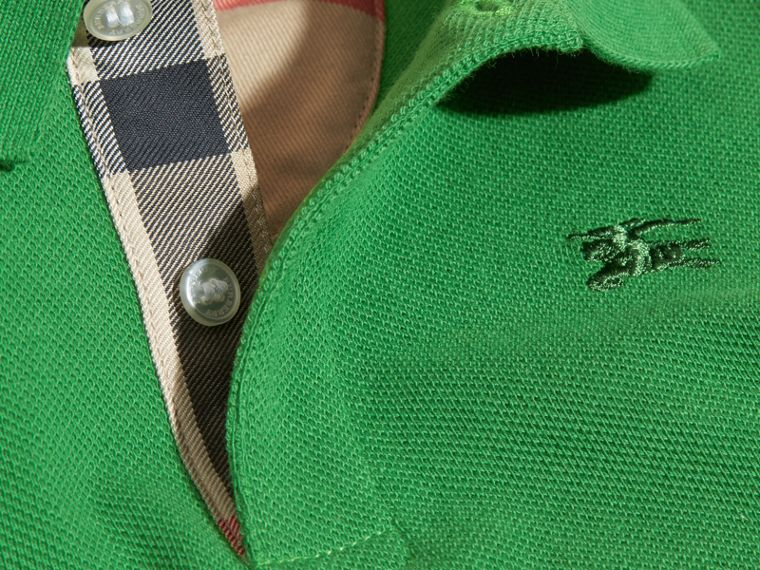 Bright fern green Check Placket Polo Shirt Bright Fern Green - cell image 1