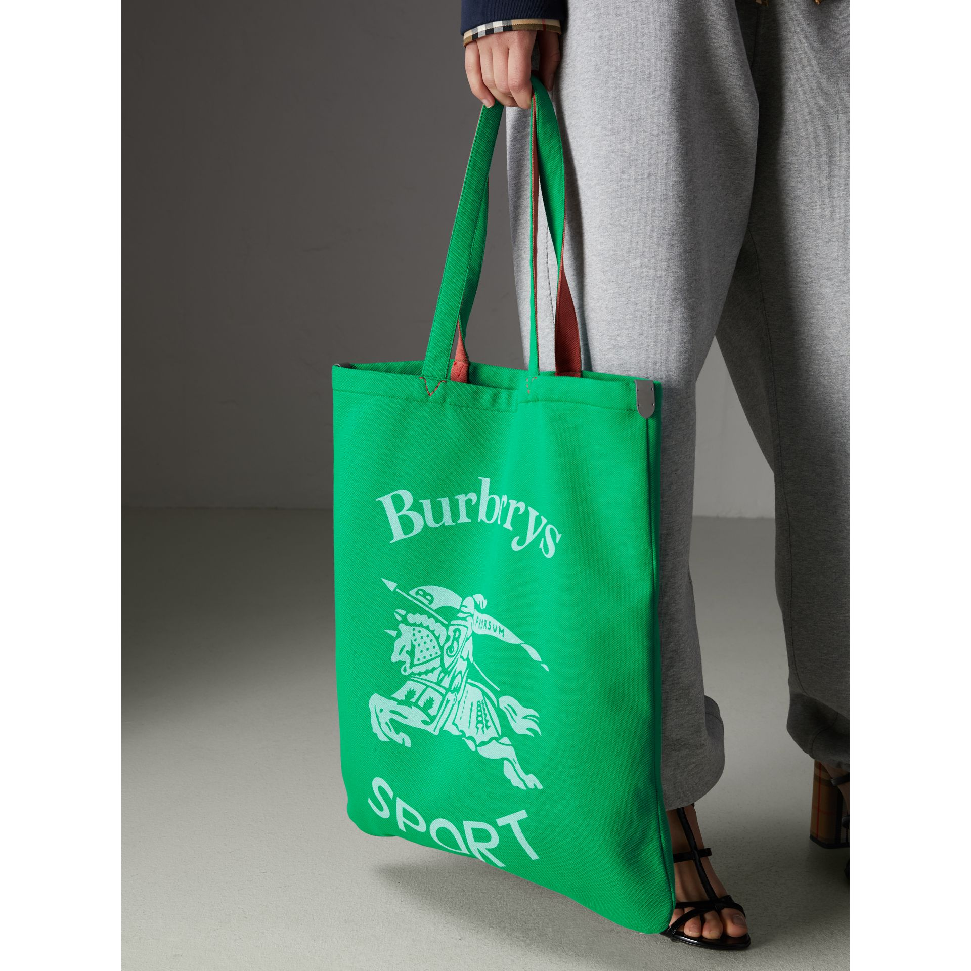 Large Archive Logo Jersey Shopper in Bright Green | Burberry - gallery image 4