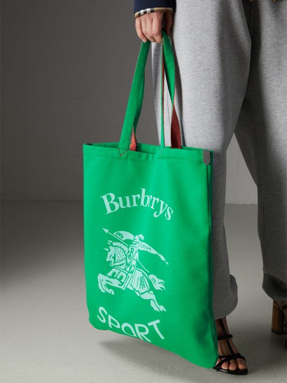 Large Archive Logo Jersey Shopper in Bright Green