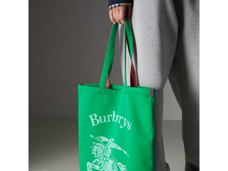 Large Archive Logo Jersey Shopper in Bright Green | Burberry - cell image 4