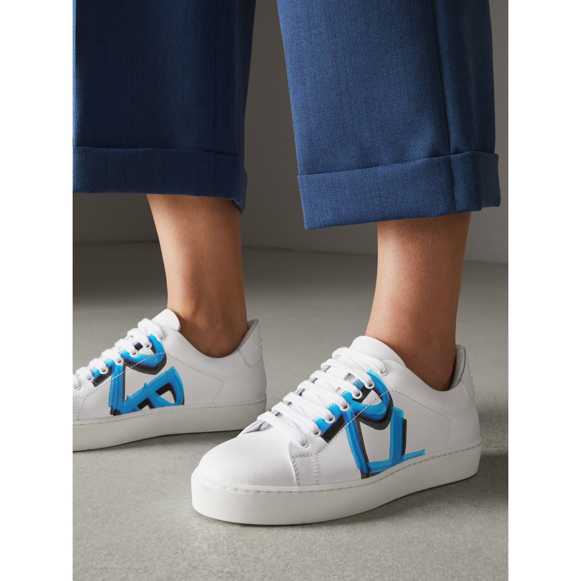 Graffiti Print Leather Sneakers in Bright Sky Blue - Women | Burberry Canada - gallery image 2