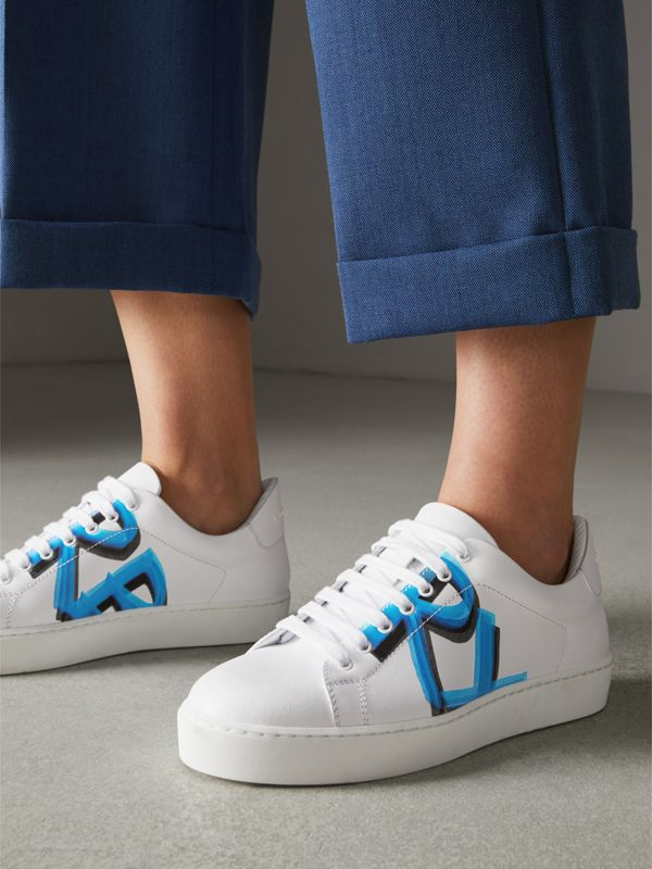 Graffiti Print Leather Sneakers in Bright Sky Blue - Women | Burberry Canada - cell image 2
