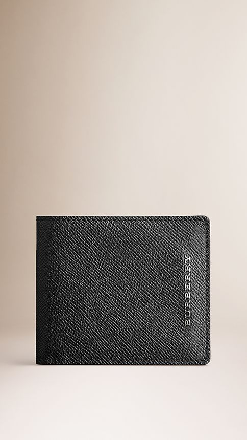 Black London Leather Folding Wallet - Image 1
