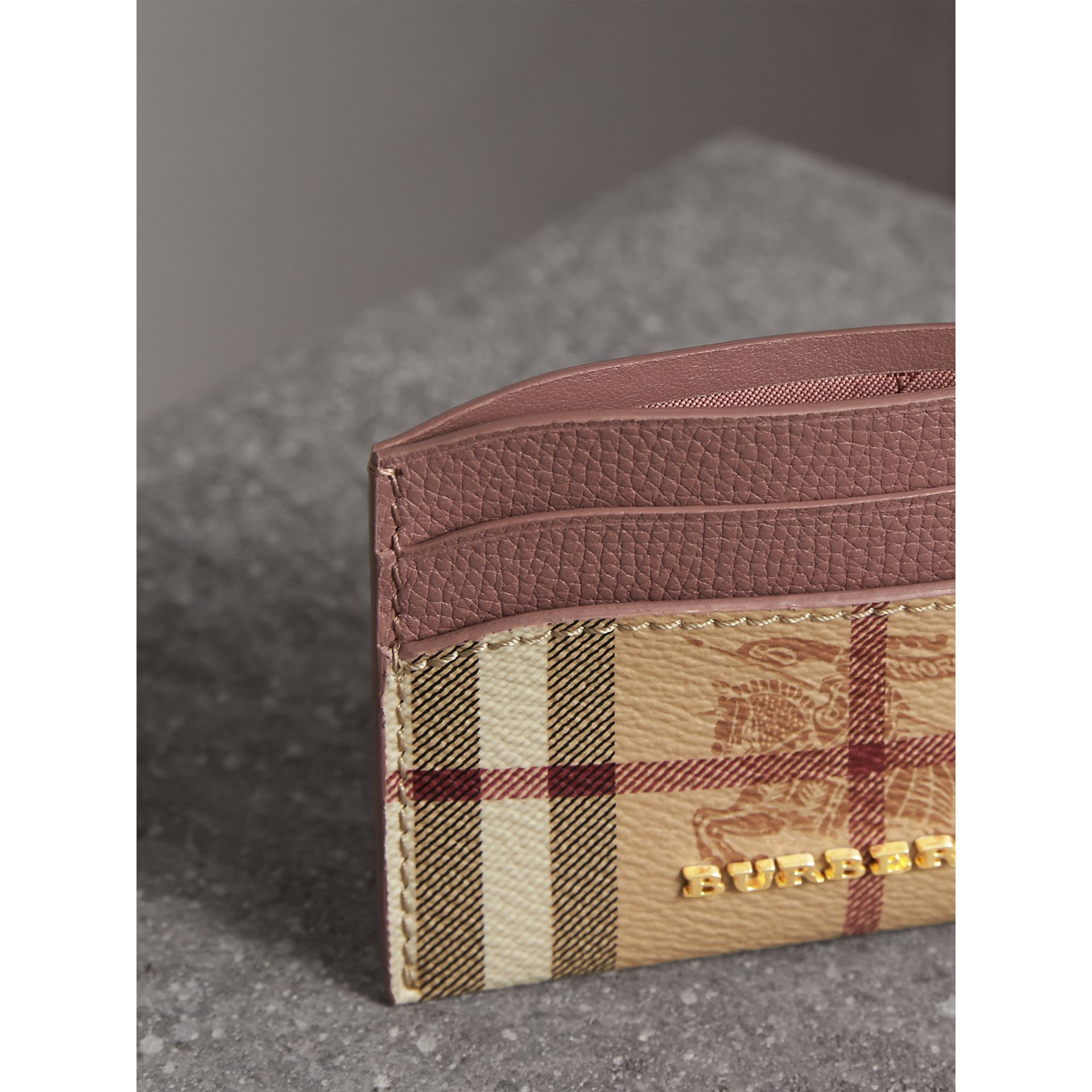 Haymarket Check and Leather Card Case in Light Elderberry - Women | Burberry Hong Kong - gallery image 3