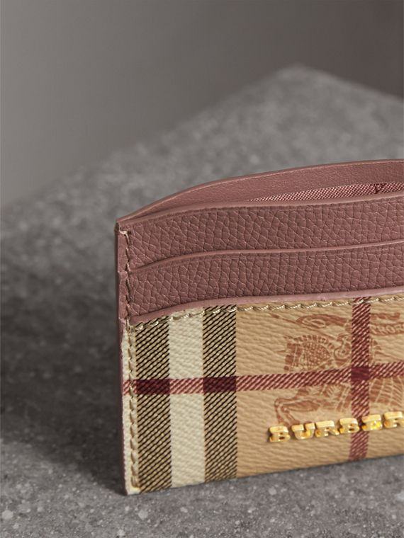 Haymarket Check and Leather Card Case in Light Elderberry - Women | Burberry - cell image 3